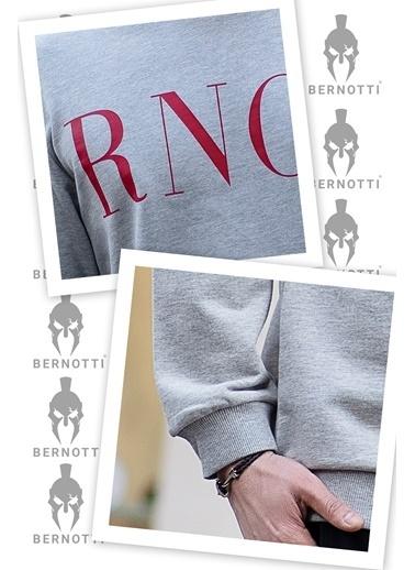 Bernotti 79 Gri Özel Baskı Detaylı Erkek Sweatshirt Gri